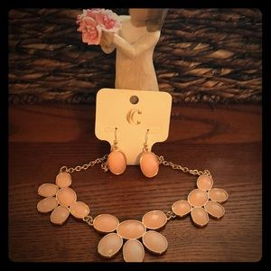 Pink and rose gold necklace and earring set